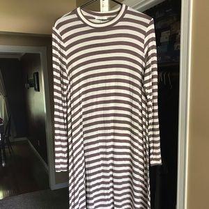 Striped Midi Swing Dress